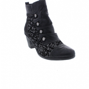 Remonte D8792-02 Ladies Black Combination Zip Up Ankle Boots